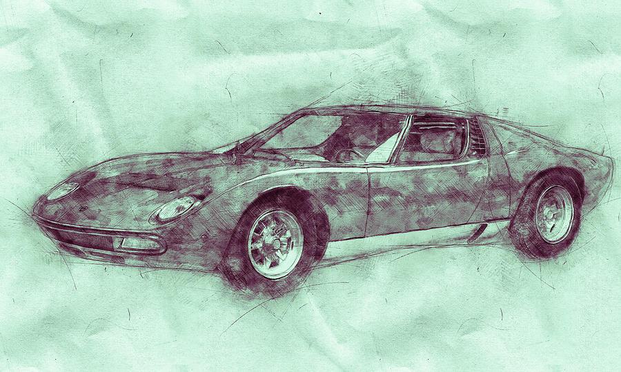 Lamborghini Miura 3 - Sports Car - 1966 - Automotive Art - Car Posters Mixed Media