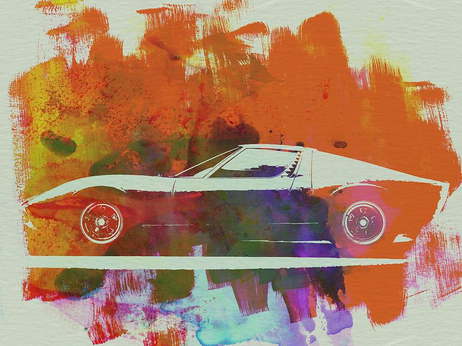 Lamborghini Miura Painting - Lamborghini Miura Side 2 by Naxart Studio