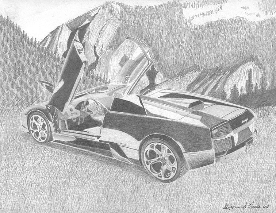 Automobile Drawings Drawing   Lamborghini Murcielago Roadster Exotic Car  Art Print By Stephen Rooks