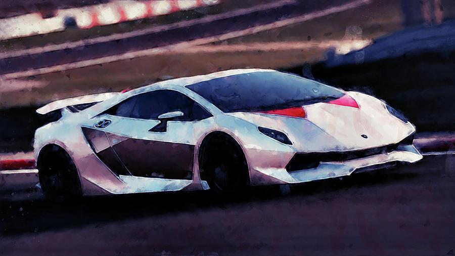 Lamborghini Sesto Elemento 48 Painting By Andrea Mazzocchetti