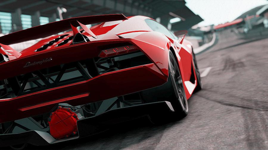 Lamborghini Painting - Lamborghini Sesto Elemento - Rear View by Andrea Mazzocchetti