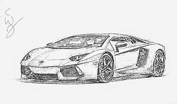 Lamborghini Sketch Digital Art By Charles Orsborne