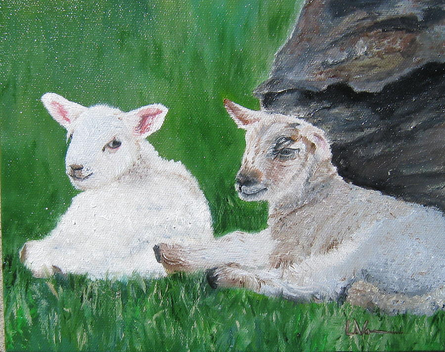 Sheep Painting - Lambs Of Ireland by LaVonne Hand