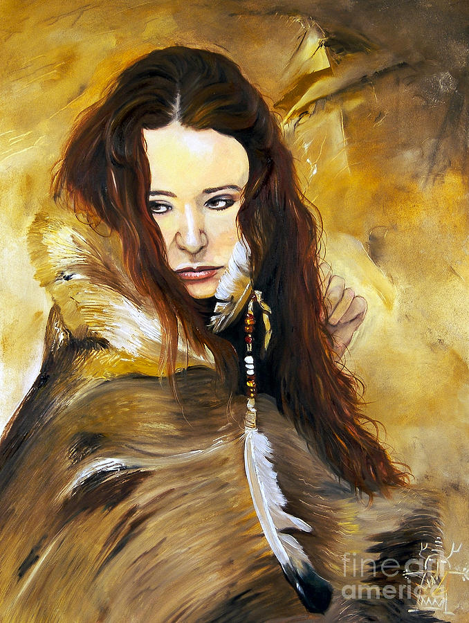 Native American Portrait Painting - Lament by J W Baker