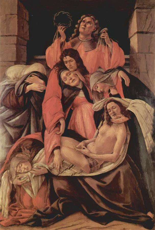 Lamentation Painting - Lamentation Over The Dead Christ 1490 by Botticelli Sandro