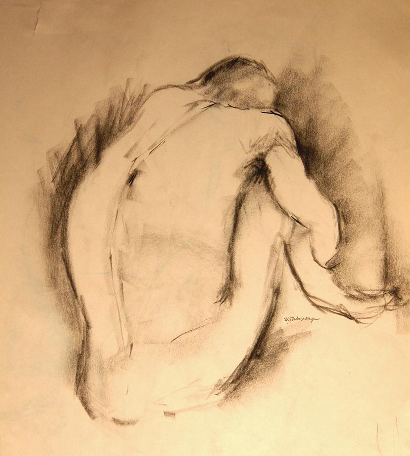 Figure Drawing Drawing - Lamenting Adonis by Ujjagar Singh Wassan
