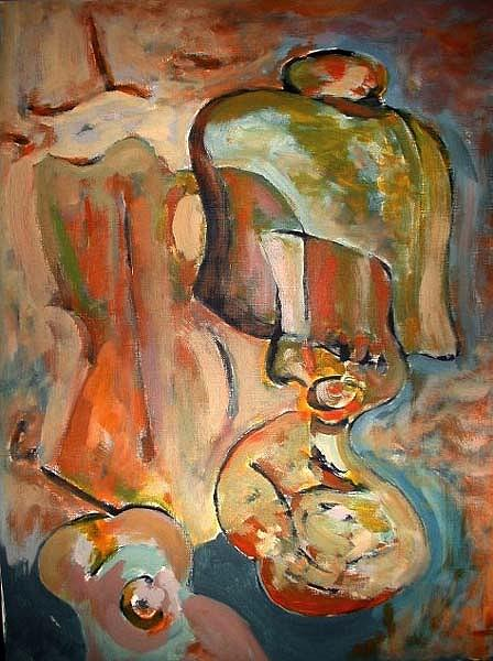 Still Life Painting - Lamp And Guitar by Mauro Longordo