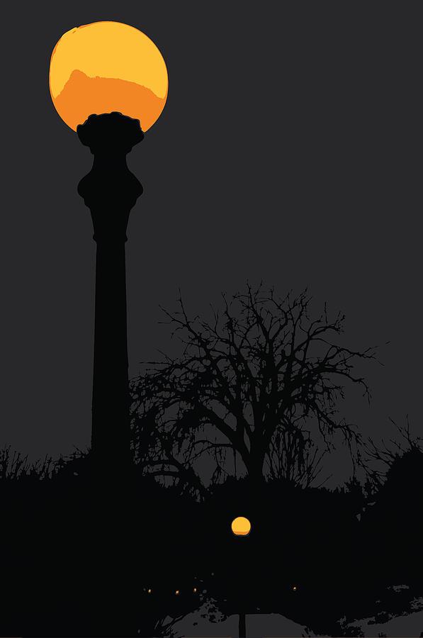 Lamp At Night Digital Art