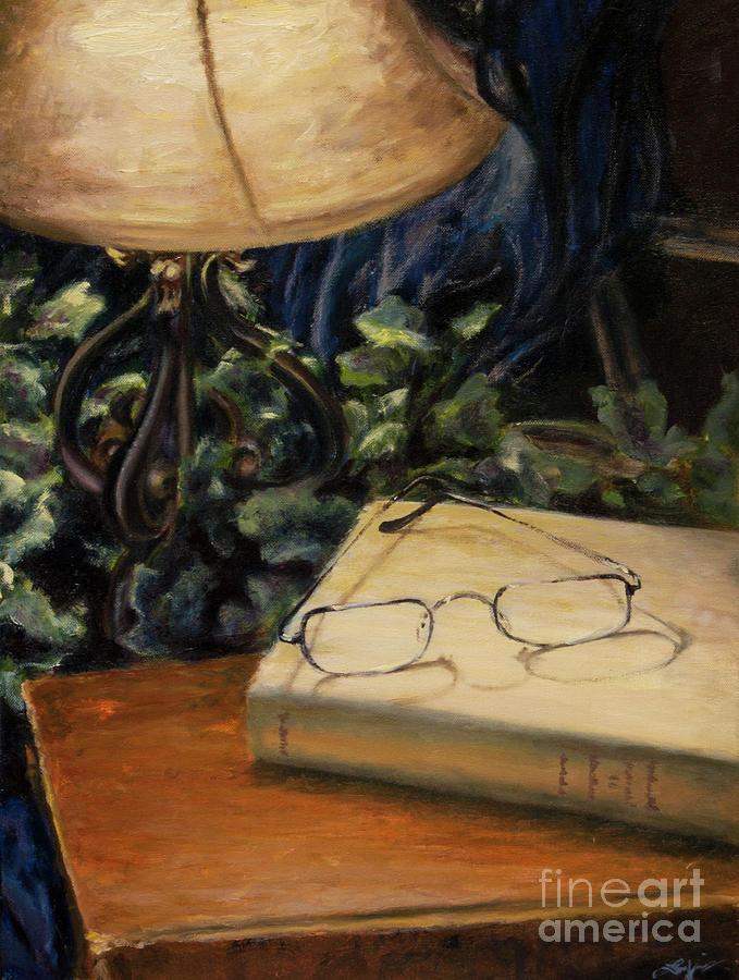 Reading Painting - Lamp Light by Lori McCray