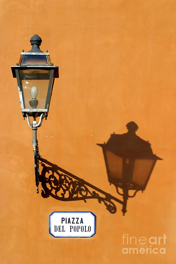 Piazza Photograph - Lamp, Shadow And Burnt Umber Wall, Orvieto, Italy by Damian Davies