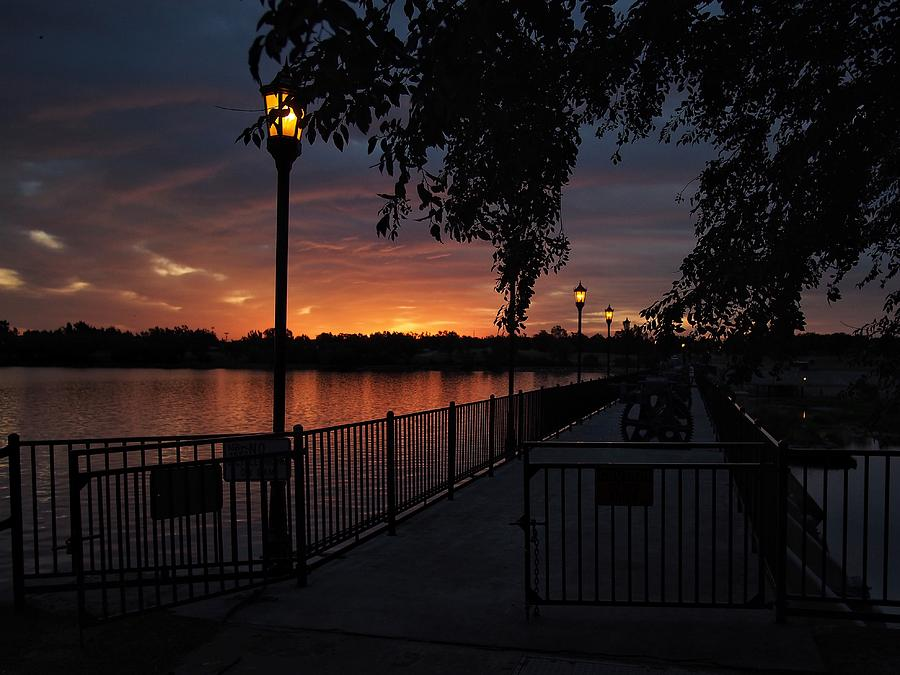 Lake Overholser Photograph - Lamplight And Daybreak  by Buck Buchanan
