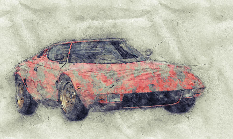 Lancia Stratos Hf 1 - Sports Car - Rally Car - 1970 - Automotive Art - Car Posters Mixed Media