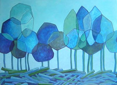 Blue Painting - Land Cultivation by Lili Vanderlaan