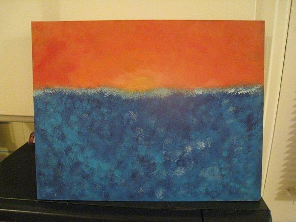 Ocean Painting - Land Locked Blues by Krysten Jorgensen