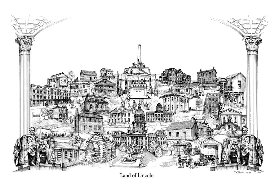 Lincoln Drawing - Land Of Lincoln by Dennis Bivens