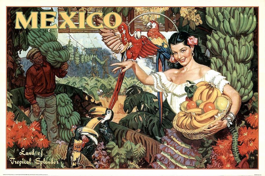 Mexico Mixed Media - Land of Tropical Splendor, Mexico - Retro travel Poster - Vintage Poster by Studio Grafiikka