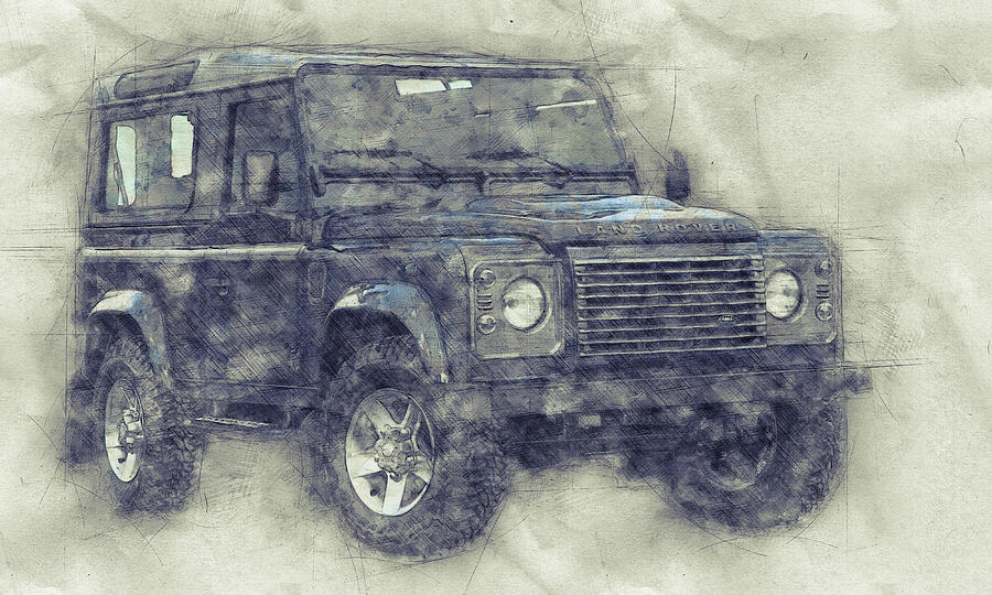 Land Rover Defender 1 - Land Rover Ninety - Land Rover One Ten - Automotive Art - Car Posters Mixed Media