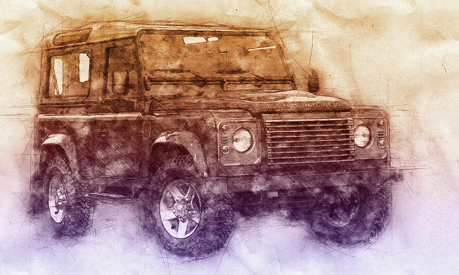 Land Rover Defender 2 - Land Rover Ninety - Land Rover One Ten - Automotive Art - Car Posters Mixed Media