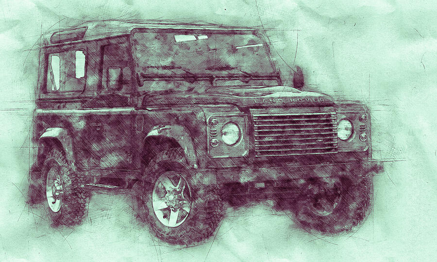 Land Rover Defender 3 - Land Rover Ninety - Land Rover One Ten - Automotive Art - Car Posters Mixed Media