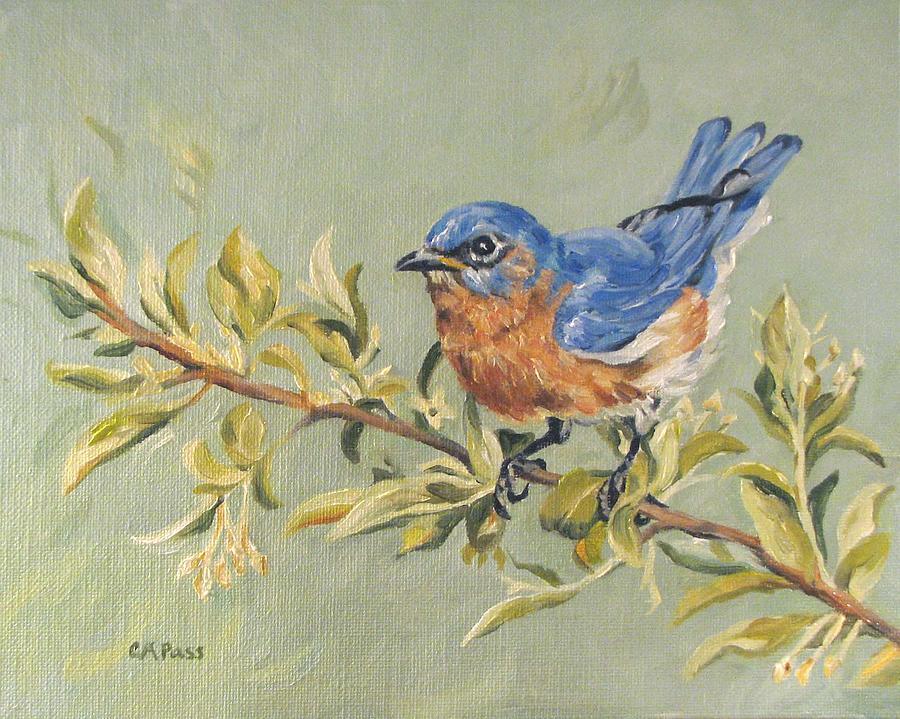 Birds Painting - Landing In Honeysuckle by Cheryl Pass