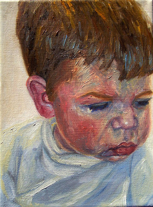 Kid Painting - Landon by Marianne Devine