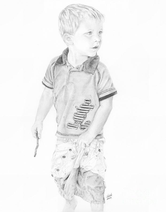 Portrait Drawing - Landon by Shevin Childers
