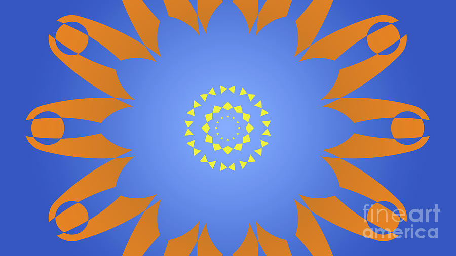 Abstract Digital Art - Landscape Abstract Blue, Orange And Yellow Star by Drawspots Illustrations