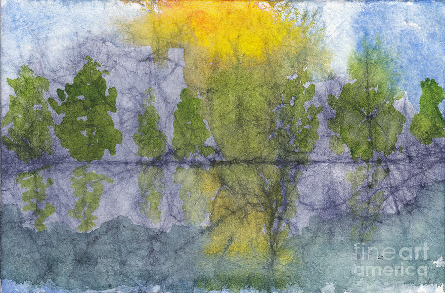 Landscape Painting - Landscape Reflection Abstraction on Masa Paper by Conni Schaftenaar