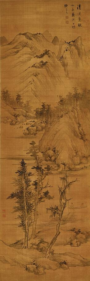 Poster Painting - Landscape After Dong Yuan by Zha Shibiao