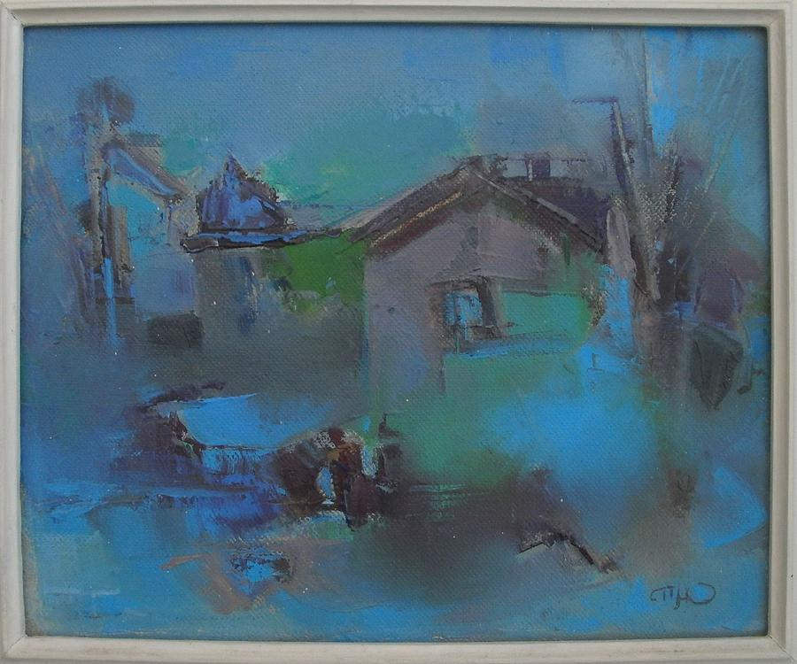 Landscape Painting - Landscape In Blue by Pemaro