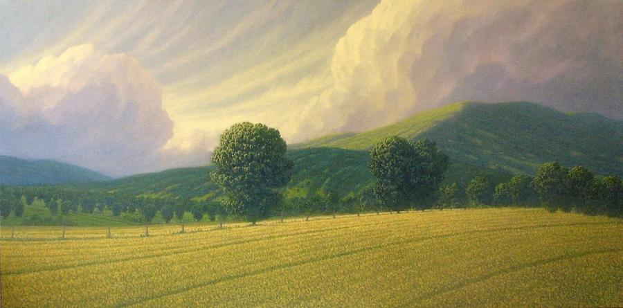 Landscape Painting - Landscape In Green And Golds by Richard Herman