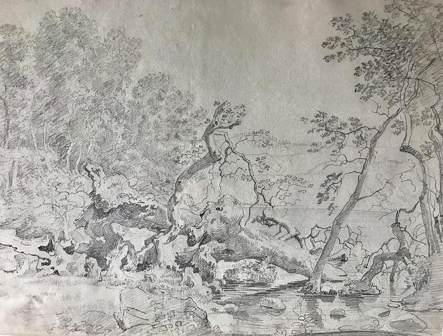 Landscape In Lazio Italy Drawing