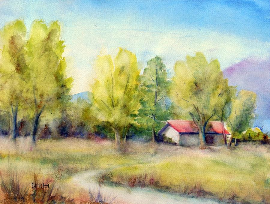 Landscape Painting - Landscape in Ranchos, Taos NewMexico by Diane Binder
