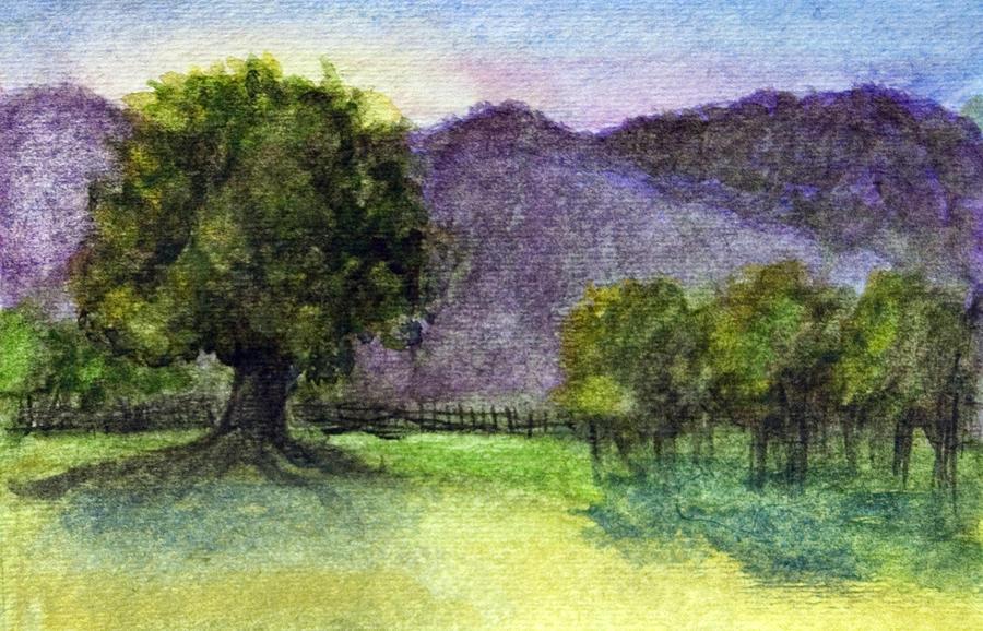 Landscape in Watercolor -1 by Barbara J Blaisdell