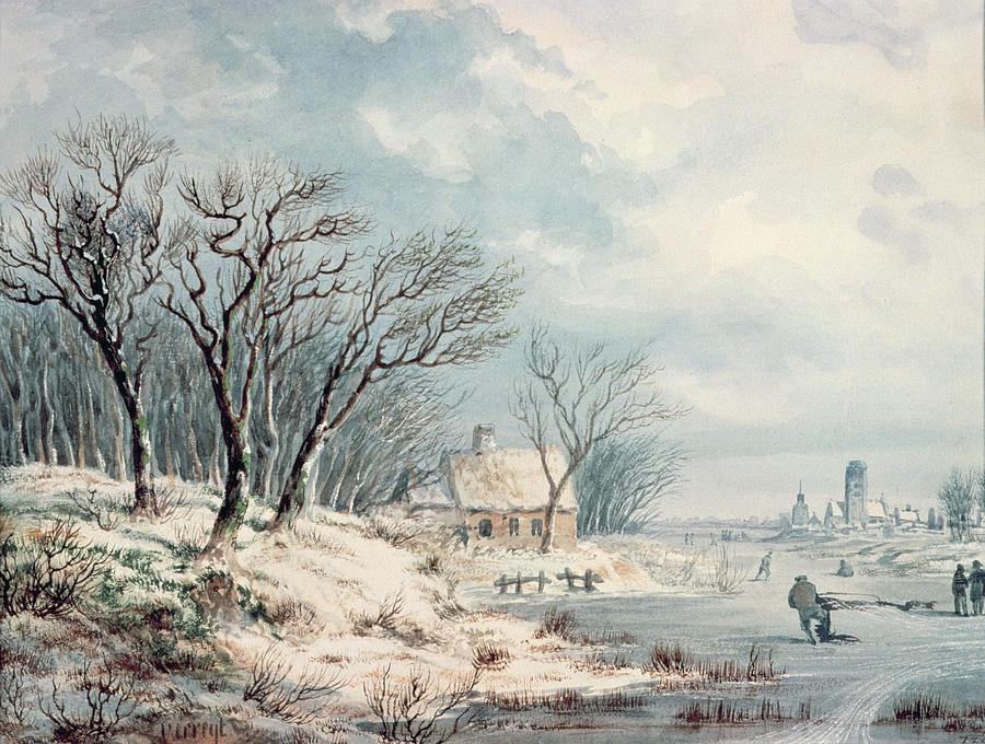 Landscape Painting - Landscape In Winter by JJ Verreyt