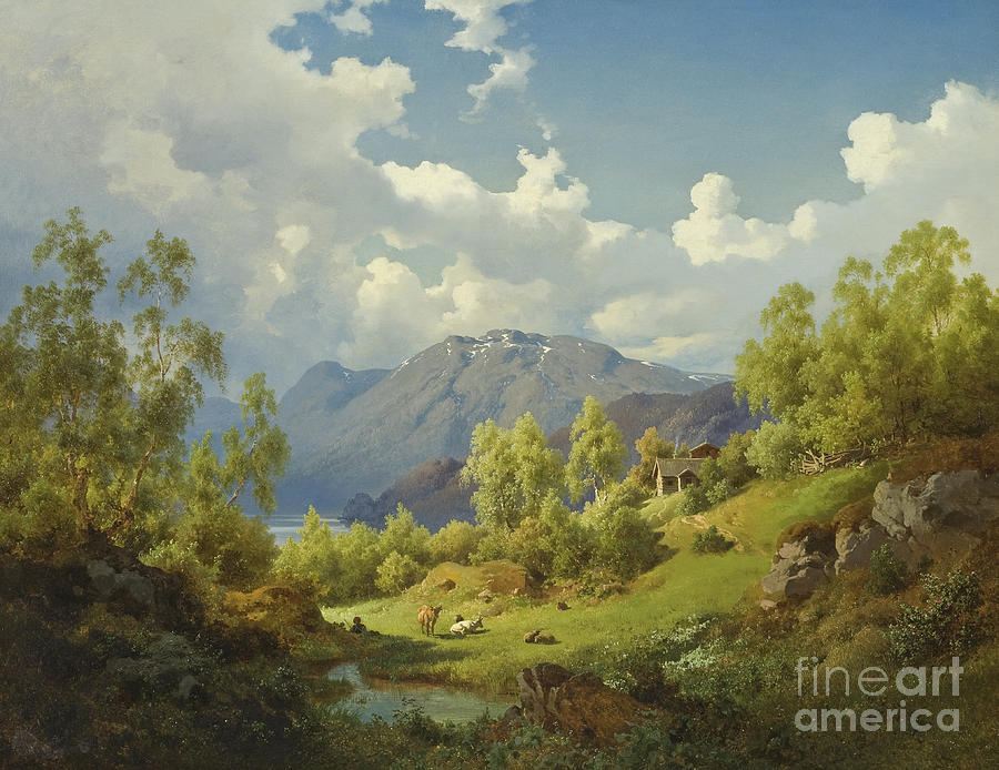 Landscape Painting - Landscape, Motif From The Numme Valley In Norway, 1850 by Joachim Frich