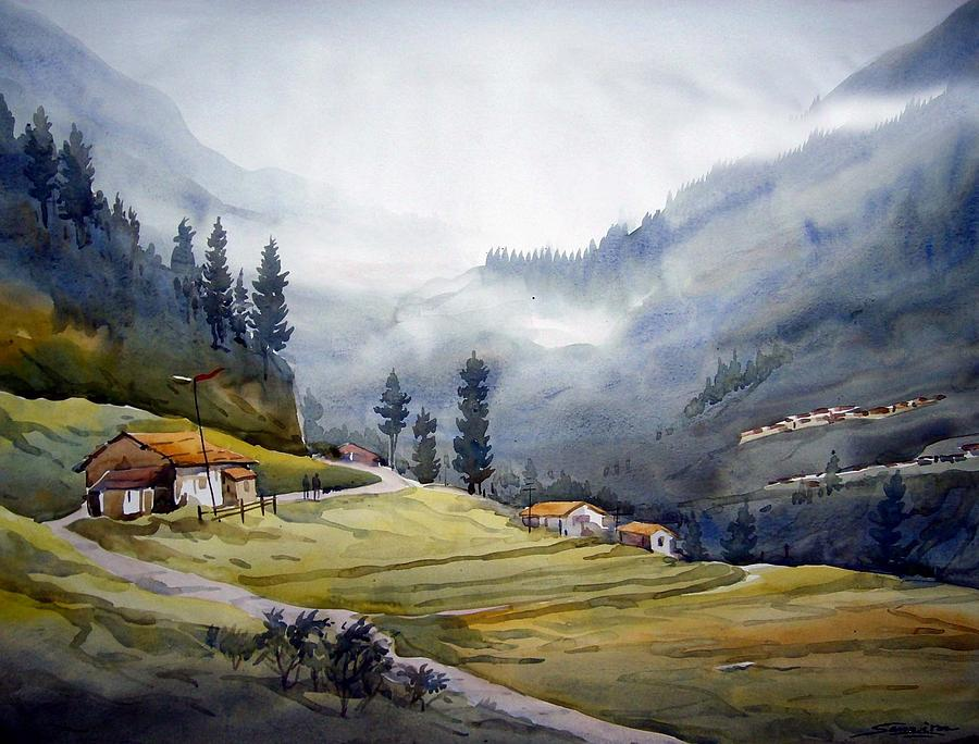 landscape of himalayan mountain painting by samiran sarkar