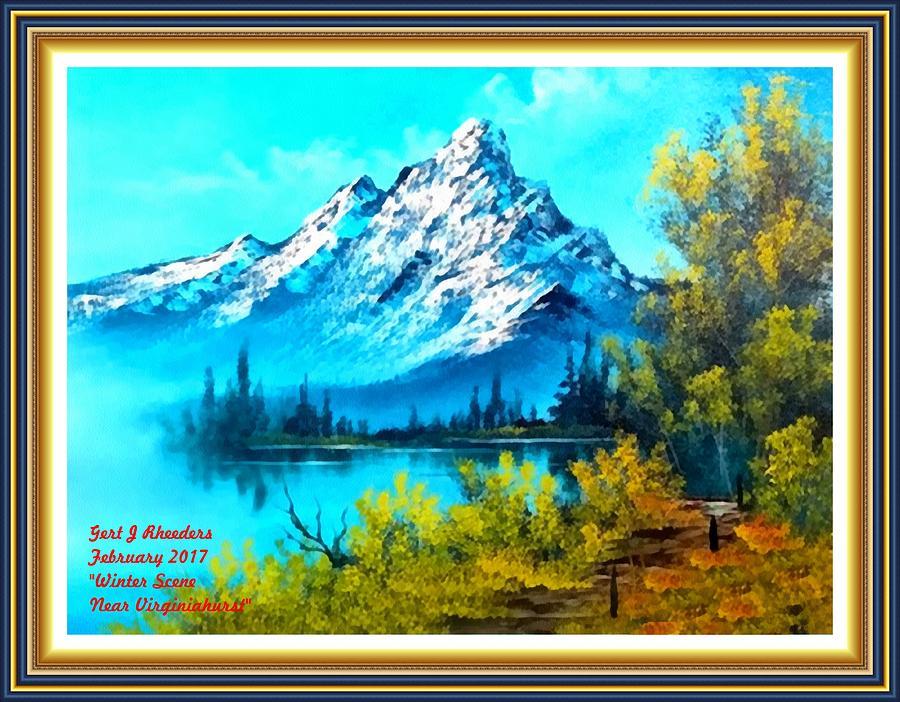 Park Painting - Landscape Scene Near Virginiahurst L A With Alt. Decorative Ornate Printed Frame. by Gert J Rheeders