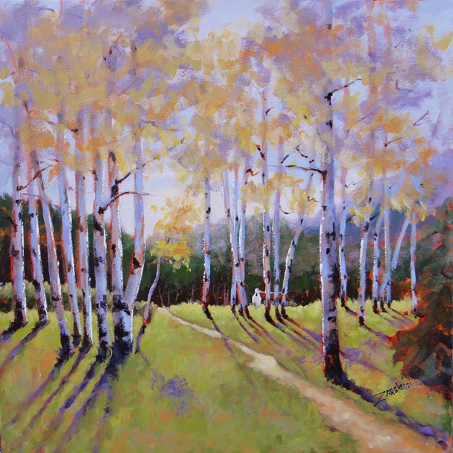 Birch Trees Painting - Landscape Series 3 by Laura Lee Zanghetti