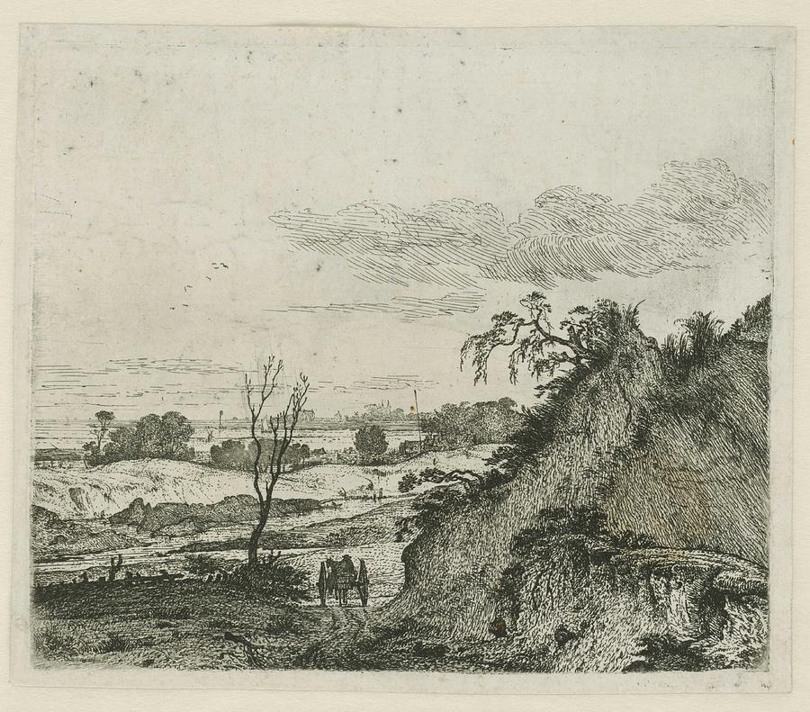 Landscape With A Horse With Wagon, Jan Hackaert, 1640 - 1699 Painting