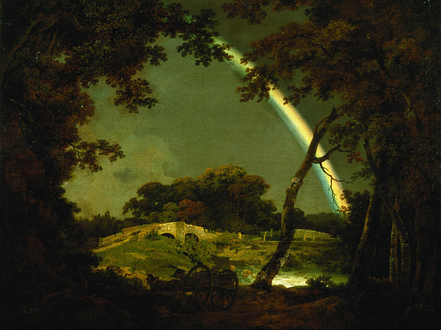 Landscape Painting - Landscape With A Rainbow by Joseph Wright of Derby