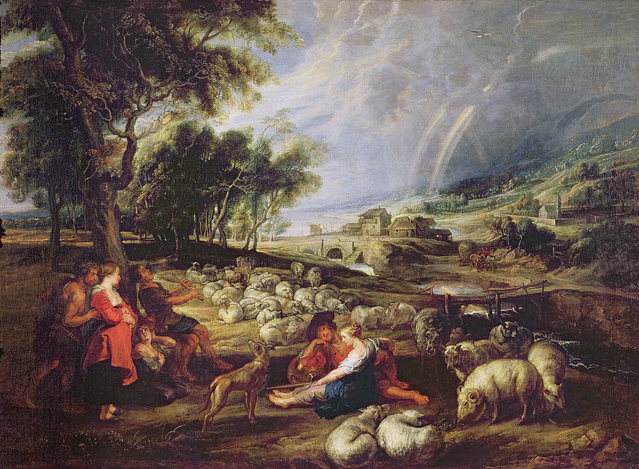 Landscape Painting - Landscape With A Rainbow by Rubens