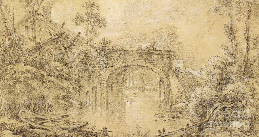 landscape with a rustic bridge drawing by francois boucher