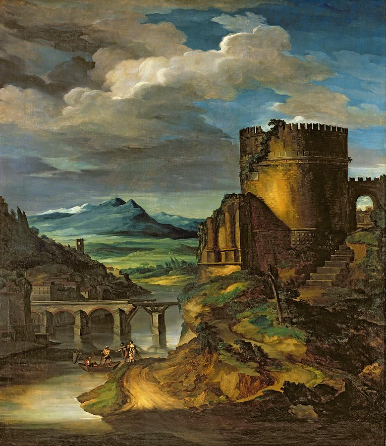 Italian Painting - Landscape With A Tomb  by Theodore Gericault