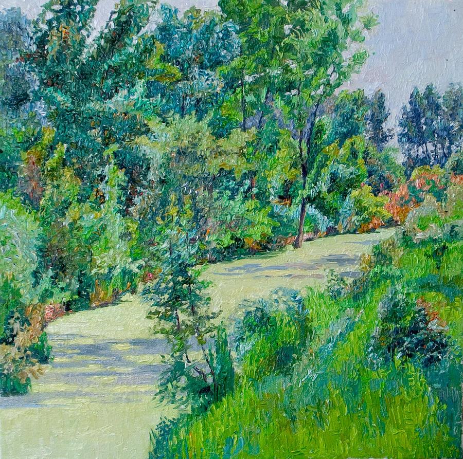 Landscape Painting - Landscape with duckweed by Vitali Komarov