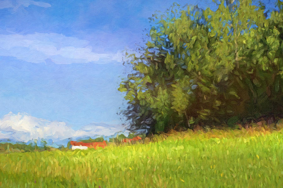 Sunny Painting - Landscape With Farm by Lutz Baar