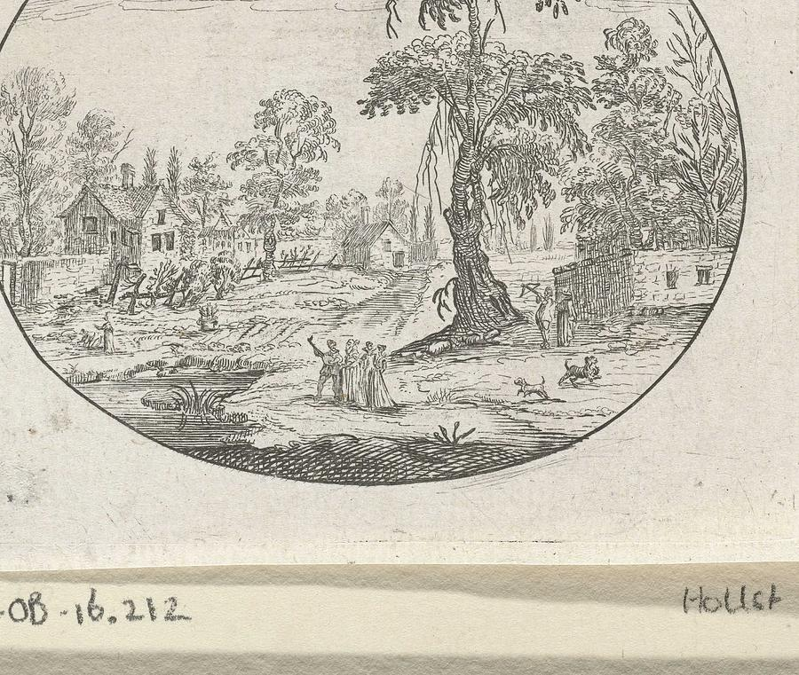 Landscape With Figures Near A Tree, Charles Cornelisz. De Hooch, C. 1613-1638 Painting