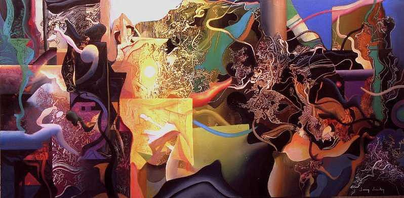 Abstract Painting - Landscape with Geometry by Jerry Jacoby