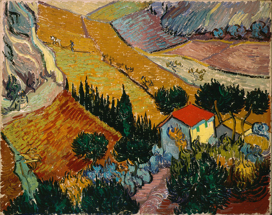 Van Gogh Painting - Landscape With House And Ploughman by Van Gogh