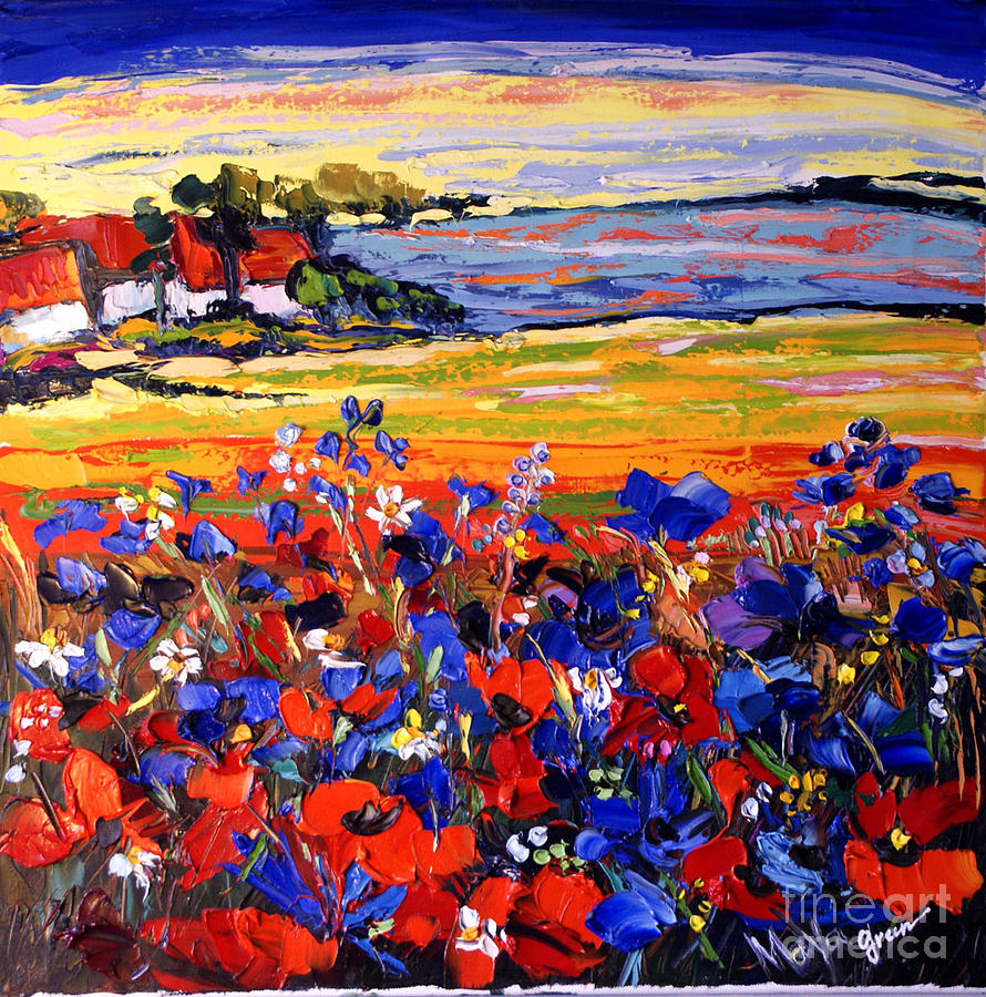 Landscape Painting - Landscape With Poppies by Maya Green